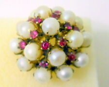 Vtg 14K Gold Ruby & Pearl Cocktail Ring Resized to 6.25 Filigree 5 Layers 1950's