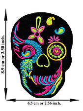 Black Sugar Skull Mexican Rose Rock Awesome Tattoo Applique Iron on Patch Sew