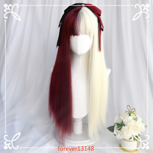 Gothic Lolita Women's Curly Hair Cosplay Daily Full Wigs Red Beige / Black White