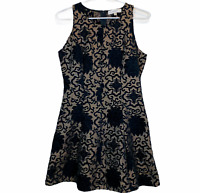 Temt Womens Black Floral Sleeveless Fit Flare Dress Size 8
