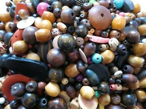 1000 x WOOD WOODEN BEADS SELECTION MIX CRAFTS JEWELLERY MAKING BEADING