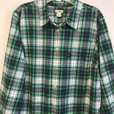 LL Bean Women's Sz Large Plaid Green Long sleeve Button Down Shirt NEW