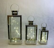 3 LANTERNS Stainless steel free set 3 x 20 LED lights INDOOR/OUTDOOR weddings