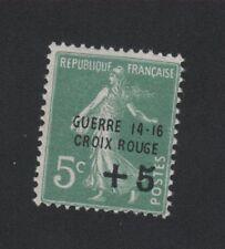 Croix-Rouge guerre timbre de France + 5 c sur 5 c Semeuse gomme sans charnière