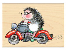 New Penny Black BORN WILD! Hedgehog Motorcycle Rubber Stamps Critters Biker