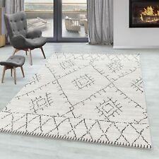 Wohnzimmer Teppich FES Kurzflor Teppich Berber Stil Muster Creme