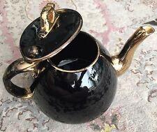 BELLISSIMO & RARO D'ANTIQUARIATO inglese vittoriano Oro Dorato Nero Ceramica Teiera