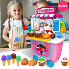 Cute Kids Simulation Ice Cream Shop Dresser Cart Pretend Toy Set Role play set