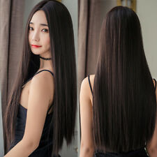 Women Long Straight Full Wig Hair Part Bangs Synthetic Cosplay Party Black Color