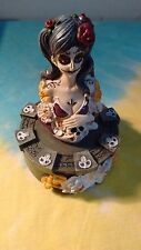 Day of The Dead Lady Skull Rose 4.5 Inch Trinket Box