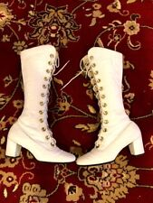 70s Vintage White Leather Lace Up Gogo Boots