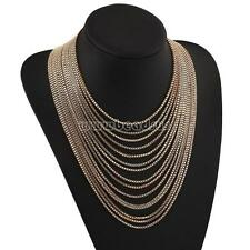 Fashion Women Gold Color Multi Layer Choker Statement Necklace Chain Jewelry