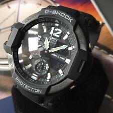 Mens Casio Watch Twin Sensor Compass Thermometer Black Genuine GA-1100