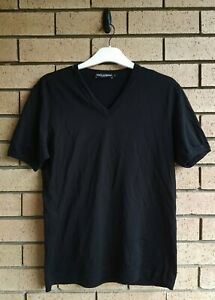 Dolce & Gabbana Mens Black V-Neck T-shirt Size IT 52 Made in Italy