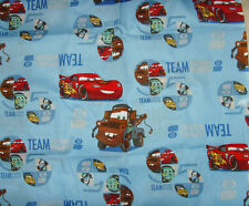NEW fabric Material sewing boys room novelty Cars Team Lightening McQueen blue