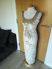 Ladies Dress Size 12 PETITE Crushed Velvet Champagne Cream Long Midi Stretch