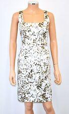 NWT $238 TAHARI White Tan Black Print Stretch Cotton Shift Dress W/ Belt - 4 Sm