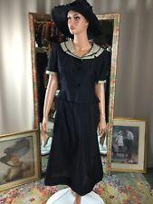 1950s Black 2 Pc Cotton A Line Skirt w Short Jacket Pinup Secretarial Sz 12
