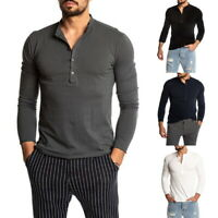 Men Henley Shirts Long Sleeve Button Slim Fit Muscle Basic Tee Blouse T-shirt US