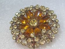 Vintage Gold Tone Clear & Amber Round Rhinestone Brooch, 1950-1960's, 2""