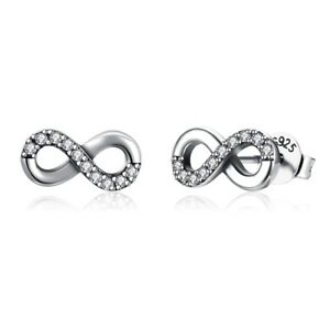 925 Sterling Silver Stud Earrings Eight Words Infinity Wedding Gift For Her