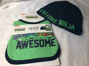 Teenage Mutant Ninja Turtles Bib & Cap Set 100% Cotton Future Ninja Awesome NWT