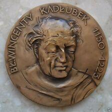 SAINT WINCENTY KADLUBEK POLISH CATHOLIC 1150-1223 / ANGELS / BRONZE MEDAL / M51