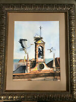 """Nesting Storks, Church Of St. Francis, Portugal"" Watercolor Painting - Framed"