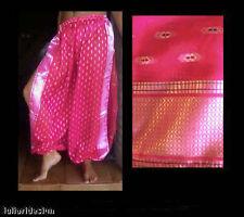 Harem Pants Belly Dance Sari Chiffon Hot Pink w/ Silver Slit