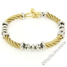 Fancy 14K Yellow & White Gold Twisted Tube Rolo Style Link Chain Toggle Bracelet