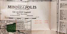 1922 Vintage City of Minneapolis, Minnesota Map Hotel Vendome Electric