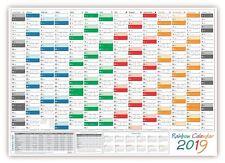 Rainbow Wandkalender DIN A1 2019 gefaltet Wandplaner + Ferien Feiertage