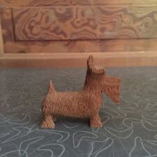 Vintage Hand Carved Wood Scottie Dog Figurine