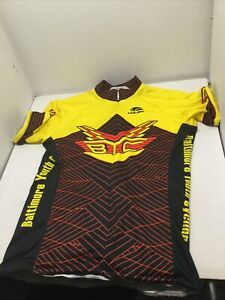 Youth Voler Cycling Jersey Size XLarge Yellow Black Red Back Pouches Made in USA