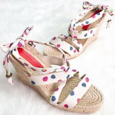 Marc By Marc Jacobs Womens Espadrille Wedges Paintball Polka Dot Tie Up Shoe 8