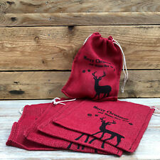 5x New Red Merry Christmas Happy New Year Santa Stocking Vintage Gift Bags Sacks