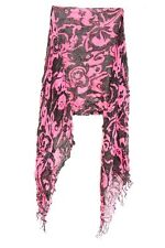PINK / BLACK FLORAL INSPIRED TASSELLED SCARF UNIQUE NEW STATEMENT(MS31)