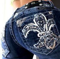 Miss Me Boot Cut Rhinestone Fleur Western Bling Denim Blue Jeans size 2 26 x 32