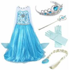 Prinzessin Eiskönigin Frozen Kostüm Anna Elsa Kleid Krone Diadem Karneval Kinder