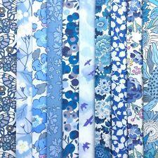 "NEW! 10 Liberty Print Tana Lawn pieces, each min. 5"" x 5"" - *SUMMER SKY* - blues"