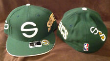 "Seattle Supersonics Reebok Fitted Hat NBA SONICS ""S"" Multi Green/White 7 3/4"