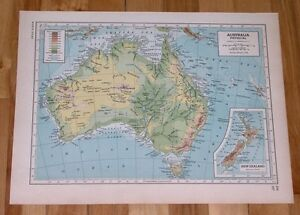 1944 VINTAGE WWII PHYSICAL MAP OF AUSTRALIA VERSO PHYSICAL MAP OF SOUTH AMERICA