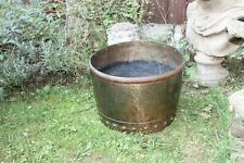 A lovely solid riveted copper Victorian planter/log bin/coldron.