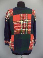 PBJ SPORT Green Red Blue Plaid Cotton Blend Chunky Crewneck Sweater Sz S DD6847