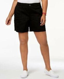 STYLE & CO Chino Mid Rise Comfort Waist Cargo Shorts sz 18W Black NWT
