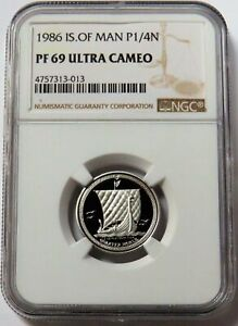 1986 PLATINUM ISLE OF MAN 2,015 MINTED 1/4 NOBLE NGC PROOF 69 ULTRA CAMEO