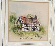 Lovely Miniature Watercolor Titled Severn Stoke, Worcs Signed Angela Or C Angela