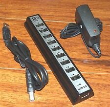 10 Port High Speed USB 2.0 Hub Expansion + Power Adapter Made For PC Laptop!