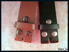 NO BUCKLE SNAP ON  STRAP PLAIN LEATHER BELT SOLID REMOVABLE BUCKLE BLACK BROWN