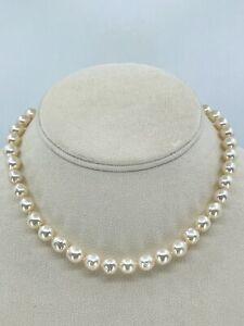 Retro Akoya Baroque Pearl Saltwater Silver Choker Necklace Strand Japan Vtg